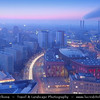 Germany - Berlin - Alexanderplatz - Large public square & transport hub in the central Mitte district of Berlinawakening captured from above during Dusk - Twilight - Blue Hour<br /> <br /> Camera Model: Canon EOS 5D Mark II; Lens: 24.00 - 105.00 mm; Focal length: 60.00 mm; Aperture: 18; Exposure time: 32.0 s; ISO: 100