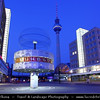 Germany - Berlin - Alexanderplatz railway station & The Weltzeituhr - World clock - Worldtime Clock - Clock which displays the time for various cities around the world captured at Dusk - Twilight - Blue Hour<br /> <br /> Camera Model: Canon EOS 5D Mark II; Lens: 17.00 - 40.00 mm; Focal length: 20.00 mm; Aperture: 20; Exposure time: 25.0 s; ISO: 100