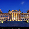 Germany - Berlin - Reichstag - Parliament - Seat of the German Parliament - One of Berlin's most historical landmarks - Reichstag building seen from the west during Dusk - Twilight - Blue Hour - Night<br /> <br /> Camera Model: Canon EOS 5D Mark II; Lens: 17.00 - 40.00 mm; Focal length: 17.00 mm; Aperture: 13; Exposure time: 32.0 s; ISO: 100