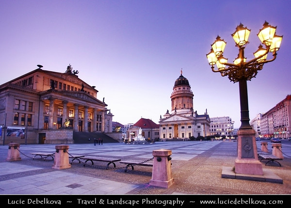 Germany - Berlin - Gendarmenmarkt - Square & site of the Konzerthaus and the French - Französischer Dom and German Cathedrals - Deutscher Dom<br /> <br /> Camera Model: Canon EOS 5D Mark II; Lens: 17.00 - 40.00 mm; Focal length: 17.00 mm; Aperture: 4.0; Exposure time: 1/20 s; ISO: 1250