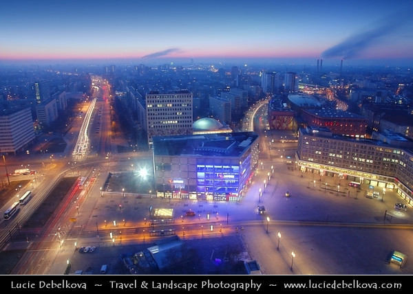 Germany - Berlin - Alexanderplatz - Large public square & transport hub in the central Mitte district of Berlinawakening captured from above during Dusk - Twilight - Blue Hour<br /> <br /> Camera Model: Canon EOS 5D Mark II; Lens: 24.00 - 105.00 mm; Focal length: 24.00 mm; Aperture: 18; Exposure time: 32.0 s; ISO: 100