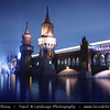Europe - Germany – Deutschland - Berlin – Capital City - Oberbaum Bridge – Oberbaumbrücke – Double-deck bridge crossing Berlin's River Spree – One of the city landmarks at Dusk – Twilight – Blue Hour<br /> <br /> Camera Model: Canon EOS 5D Mark II; Lens: 24.00 - 105.00 mm; Focal length: 35.00 mm; Aperture: 5.6; Exposure time: 32.0 s; ISO: 100