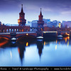 Europe - Germany – Deutschland - Berlin – Capital City - Oberbaum Bridge – Oberbaumbrücke – Double-deck bridge crossing Berlin's River Spree – One of the city landmarks at Dusk – Twilight – Blue Hour<br /> <br /> Camera Model: Canon EOS 5D Mark II; Lens: 24.00 - 105.00 mm; Focal length: 32.00 mm; Aperture: 14; Exposure time: 32.0 s; ISO: 100