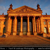 Germany - Berlin - Reichstag - Parliament - Seat of the German Parliament - One of Berlin's most historical landmarks - Reichstag building seen from the west during sunset<br /> <br /> Camera Model: Canon EOS 5D Mark II; Lens: 24.00 - 105.00 mm; Focal length: 28.00 mm; Aperture: 6.3; Exposure time: 1/125 s; ISO: 100
