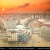 Germany - Berlin - Alexanderplatz - Large public square & transport hub in the central Mitte district of Berlinawakening captured from above during cold Sunrise<br /> <br /> Camera Model: Canon EOS 5D Mark II; Lens: 24.00 - 105.00 mm; Focal length: 32.00 mm; Aperture: 22; Exposure time: 6.0 s; ISO: 50