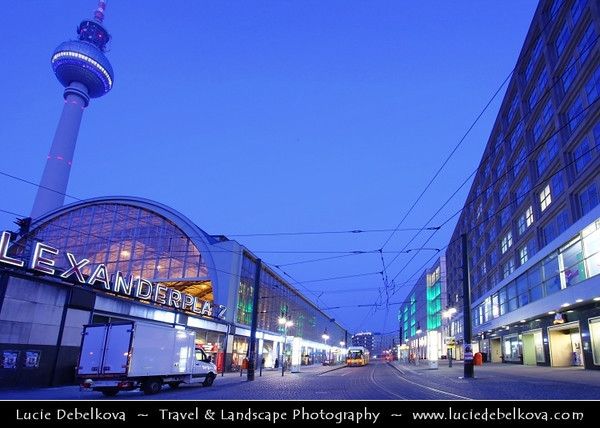 Germany - Berlin - Alexanderplatz railway station & Television Tower or Fernsehturm in Mitte Berlin at Dusk - Twilight - Blue Hour<br /> <br /> Camera Model: Canon EOS 5D Mark II; Lens: 17.00 - 40.00 mm; Focal length: 17.00 mm; Aperture: 20; Exposure time: 25.0 s; ISO: 100