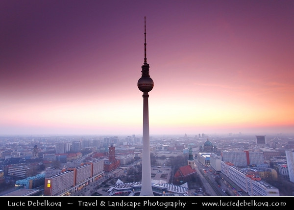 Germany - Berlin - Alexanderplatz & Television Tower or Fernsehturm in Mitte Berlin - Symbol of Berlin easily visible throughout the central & some suburban districts of Berlin - 368 meters hight making it the tallest structure in Germany<br /> <br /> Camera Model: Canon EOS 5D Mark II; Lens: 17.00 - 40.00 mm; Focal length: 20.00 mm; Aperture: 4.0; Exposure time: 1/40 s; ISO: 250