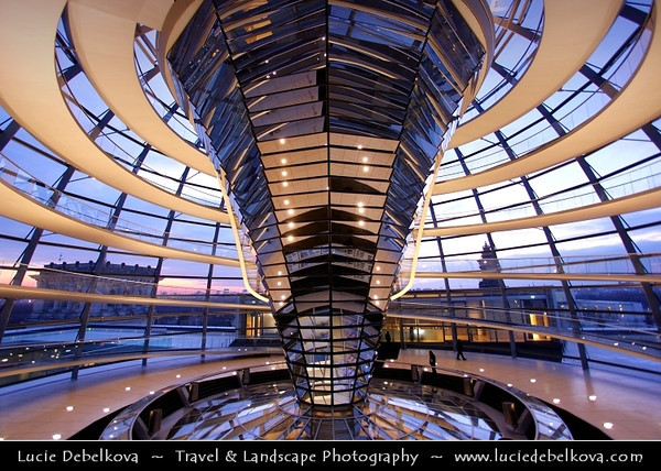 Germany - Berlin - Reichstag - Parliament - Seat of the German Parliament - One of Berlin's most historical landmarks - Dome of the The Reichstag - Large glass dome at the very top of the building - Dome has a 360-degree view of the surrounding Berlin cityscape<br /> <br /> Camera Model: Canon EOS 5D Mark II; Lens: 17.00 - 40.00 mm; Focal length: 17.00 mm; Aperture: 4.0; Exposure time: 1/25 s; ISO: 1000
