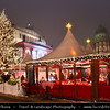 Germany - Berlin - Capital City - Gendarmenmarkt square - Site of the Konzerthaus and the French and German Cathedrals - Christmas market - Christkindlmarkt - Christkindlesmarkt - Christkindlmarket - Weihnachtsmarkt at Night<br /> <br /> Camera Model: Canon EOS 5D Mark II; Lens: 17.00 - 40.00 mm; Focal length: 27.00 mm; Aperture: 4.0; Exposure time: 1/25 s; ISO: 3200