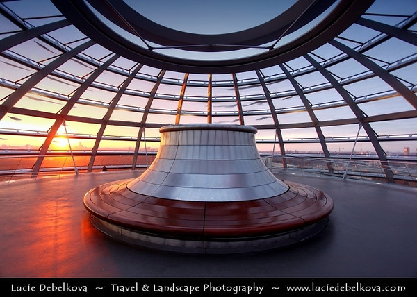 Germany - Berlin - Reichstag - Parliament - Seat of the German Parliament - One of Berlin's most historical landmarks - Dome of the The Reichstag - Large glass dome at the very top of the building - Dome has a 360-degree view of the surrounding Berlin cityscape<br /> <br /> Camera Model: Canon EOS 5D Mark II; Lens: 17.00 - 40.00 mm; Focal length: 17.00 mm; Aperture: 4.0; Exposure time: 1/50 s; ISO: 160