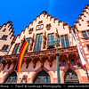 Europe - Germany - Deutschland - Hessen - Frankfurt am Main - Altstadt - Old Town - Römerberg - City hall square with historical buildings with famous facades - One of the city's most important landmarks