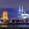 Germany - North Rhine-Westphalia - Cologne - Köln - Cologne Cathedral - Kölner Dom & Groß St. Martin Church next River Rhine at Night