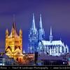 Germany - North Rhine-Westphalia - Cologne - Köln - Cologne Cathedral - Kölner Dom & Groß St. Martin Church at Night