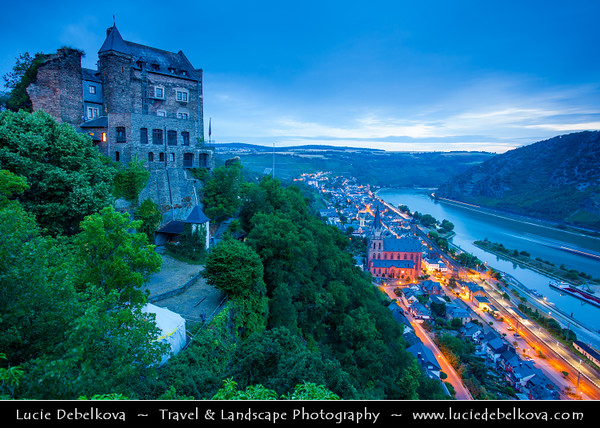 Europe - Germany - Deutschland - Rhineland-Palatinate - Upper Middle Rhine Valley - UNESCO World Heritage Site - Rhine Gorge - Romantic Rhine Valley with hillside castles and steep fields of wineyards - Rheinfels Castle - Burg Rheinfels - Castle above Sankt Goar