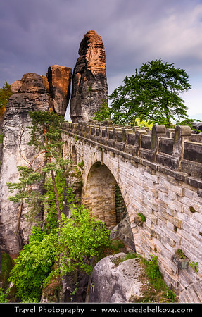 Europe - Germany - Deutschland - Saxony - Sachsen - Saxon Switzerland National Park - Sächsische Schweiz - Hilly climbing area around the Elbe valley - Elbe/Labe Sandstone Mountains - Bizarre & intriguing landscape with huge, smooth rocks & deep, narrow valleys & gorges - Stormy Evening Light