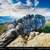 Europe - Germany - Deutschland - Saxony - Sachsen - Saxon Switzerland National Park - Sächsische Schweiz - Hilly climbing area around the Elbe valley - Elbe/Labe Sandstone Mountains - Bizarre & intriguing landscape with huge, smooth rocks & deep, narrow valleys & gorges - View from Schrammsteine - Long, strung-out, very jagged group of rocks in Elbe Valley