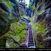 Europe - Germany - Deutschland - Saxony - Sachsen - Saxon Switzerland National Park - Sächsische Schweiz - Hilly climbing area around the Elbe valley - Elbe/Labe Sandstone Mountains - Bizarre & intriguing landscape with huge, smooth rocks & deep, narrow valleys & gorges