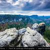 Europe - Germany - Deutschland - Saxony - Sachsen - Saxon Switzerland National Park - Sächsische Schweiz - Hilly climbing area around the Elbe valley - Elbe/Labe Sandstone Mountains - Bizarre & intriguing landscape with huge, smooth rocks & deep, narrow valleys & gorges - View from Carolafelsen