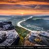 Europe - Germany - Deutschland - Saxony - Sachsen - Saxon Switzerland National Park - Sächsische Schweiz - Hilly climbing area around the Elbe valley - Elbe/Labe Sandstone Mountains - Bizarre & intriguing landscape with huge, smooth rocks & deep, narrow valleys & gorges - View from Lilienstein - Highly distinctive mountain in Saxon Switzerland