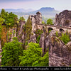 Europe - Germany - Deutschland - Saxony - Sachsen - Saxon Switzerland National Park - Sächsische Schweiz - Hilly climbing area around the Elbe valley - Elbe/Labe Sandstone Mountains - Bizarre & intriguing landscape with huge, smooth rocks & deep, narrow valleys & gorges - Stormy Evening Light