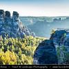 Europe - Germany - Deutschland - Saxony - Sachsen - Saxon Switzerland National Park - Sächsische Schweiz - Hilly climbing area around the Elbe valley - Elbe/Labe Sandstone Mountains - Bizarre & intriguing landscape with huge, smooth rocks & deep, narrow valleys & gorges - Bastei - Rock formation towering 194 metres above the Elbe River
