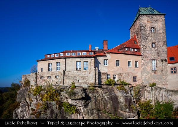 Europe - Germany - Deutschland - Saxony - Sachsen - Saxon Switzerland National Park - Sächsische Schweiz - Hohnstein Castle - Burg Hohnstein - Medieval castle on a sandstone rock high above the Polenz valley