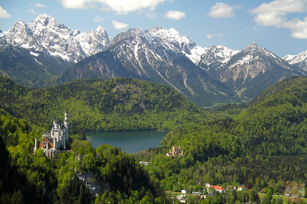 View of Neuschwanstein from the Tegelbergbahn cable car, Germany