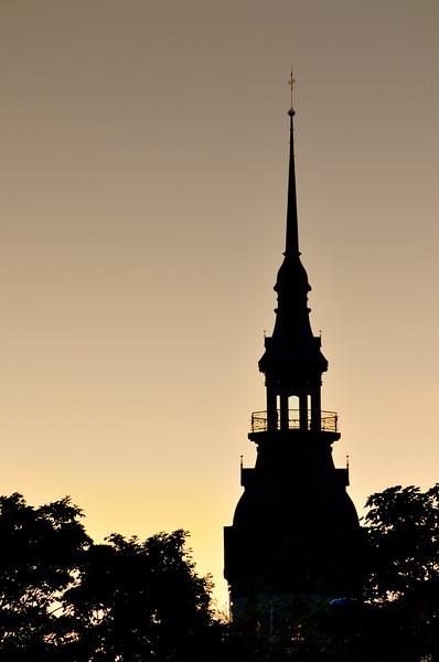 Church spire at sunset