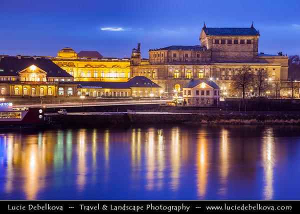 Europe - Germany - Deutschland - Saxony - Sachsen - Dresden - Drážďany - Drježdźany - Old Town along River Elbe (Labe) - Baroque-style Architecture - Semperoper Opera on Theaterplatz square