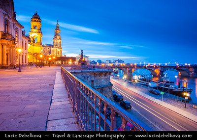 Europe - Germany - Saxony - Sachsen - Dresden - Well preserved Baroque-style Architecture Old Town along River Elbe (Labe) at Dusk - Twilight - Blue Hour - Night