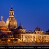 Europe - Germany - Deutschland - Saxony - Sachsen - Dresden - Drážďany - Drježdźany - Baroque-style Architecture Old Town along River Elbe (Labe) at Dusk - Twilight - Blue Hour - Night
