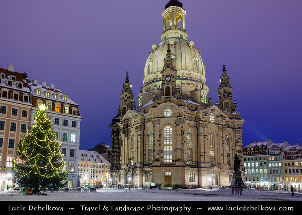 Europe - Germany - Deutschland - Saxony - Sachsen - Dresden - Drážďany - Drježdźany - Baroque-style Architecture Old Town at Dusk - Twilight - Blue Hour - Night