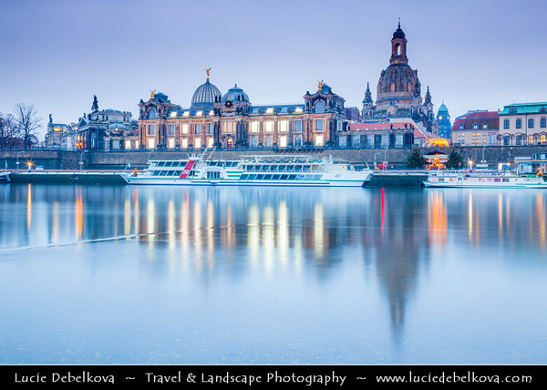 Europe - Germany - Deutschland - Saxony - Sachsen - Dresden - Drážďany - Drježdźany - Skyline of Old Town from River Elbe (Labe) - Baroque-style Architecture Reflected in Waters of River Elbe at Dusk - Frauenkirche church