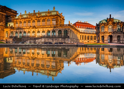 Europe - Germany - Deutschland - Saxony - Sachsen - Dresden - Drážďany - Drježdźany - Baroque-style Architecture Old Town - Zwinger - Dresdner Zwinger - Palace & major landmark of German baroque architecture