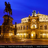 Europe - Germany - Deutschland - Saxony - Sachsen - Dresden - Drážďany - Drježdźany - Baroque-style Architecture Old Town at Dusk - Twilight - Blue Hour - Night - Semperoper Opera on Theaterplatz square