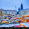 Europe - Germany - Deutschland - Saxony - Sachsen - Dresden - Drážďany - Drježdźany - Dresdner Striezelmarkt - One of Germany's oldest documented Christmas markets, first mentioned in 1434 -  Now huge event with 250 stands, taking up a large part of Dresden city centre & lasting throughout the Advent period