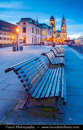 Europe - Germany - Saxony - Sachsen - Dresden - Well preserved Baroque-style Architecture Old Town along River Elbe (Labe) at Dusk