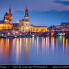 Europe - Germany - Deutschland - Saxony - Sachsen - Dresden - Drážďany - Drježdźany - Baroque-style Architecture Old Town along River Elbe (Labe) at Dusk - Twilight - Blue Hour - Night