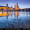 Europe - Germany - Deutschland - Saxony - Sachsen - Dresden - Drážďany - Drježdźany - Skyline of Old Town from River Elbe (Labe) - Baroque-style Architecture Reflected in Waters of River Elbe at Dusk - Twilight - Blue Hour - Night