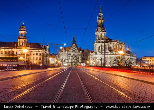 Germany - Saxony - Sachsen - Dresden - Dusk over Historical Center - Traffic on St. Augustus Bridge - Augustusbrücke & The Hofkirche