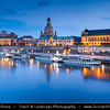 Germany - Saxony - Sachsen - Dresden - Skyline of Old Town from River Elbe (Labe) - Baroque-style Architecture Reflected in Waters of River Elbe at Dusk - Frauenkirche church