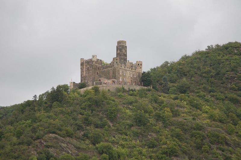 Castle on top of hill along the Rhine river