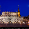 Germany - Saxony - Sachsen - Dresden - Night shot, Catholic Hofkirche church, St. Trinity Cathedral, Dresden Castle and Hausmannsturm tower, Theaterplatz square