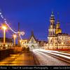 Europe - Germany - Deutschland - Saxony - Sachsen - Dresden - Drážďany - Drježdźany - Old Town along River Elbe (Labe) - Baroque-style Architecture - Katholische Hofkirche - Kathedrale Sanctissimae Trinitatis - Roman Catholic Cathedral & St. Augustus Bridge - Augustusbrücke
