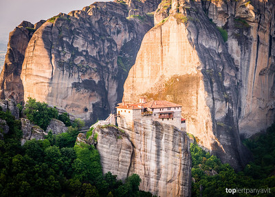 Monasteries in Meteora, Greece built on top of rock spires.