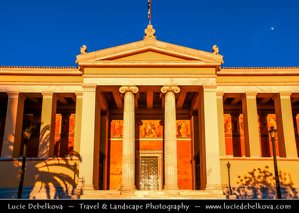 Athens - Αθήνα - Athína - Athine - Capital & largest city of Greece - Late Evening Light over University of Athens on Panepistimiou Street