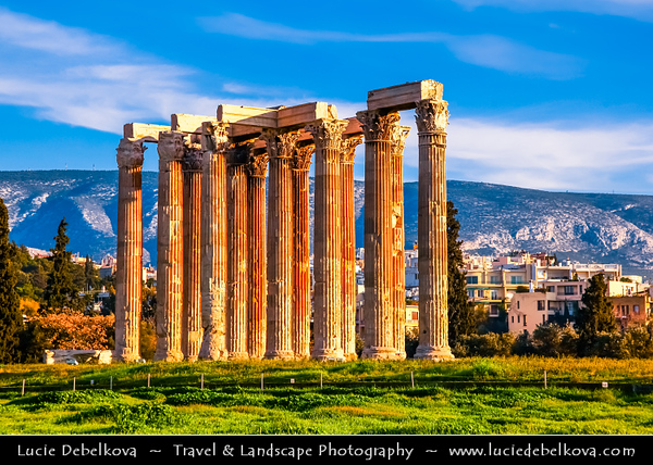 Athens - Αθήνα - Athína - Athine - Capital & largest city of Greece - The Temple of Olympian Zeus - Ναὸς τοῦ Ὀλυμπίου Διός - Naos tou Olympiou Dios - Olympieion or Columns of the Olympian Zeus - Colossal ruined temple in centre of Athens dedicated to Zeus, king of Olympian gods