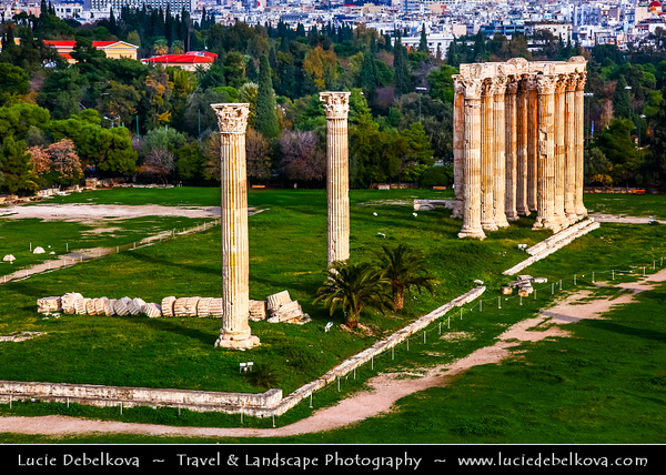 Athens - Αθήνα - Athína - Athine - Capital & largest city of Greece - The Temple of Olympian Zeus - Ναὸς τοῦ Ὀλυμπίου Διός - Naos tou Olympiou Dios - Olympieion or Columns of the Olympian Zeus - Colossal ruined temple in the centre of Athens dedicated to Zeus, king of the Olympian gods