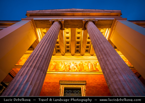 Athens - Αθήνα - Athína - Athine - Capital & largest city of Greece - University of Athens on Panepistimiou Street during Dusk / Twilight / Blue Hour