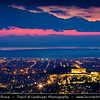 Athens - Αθήνα - Athína - Athine - Capital & largest city of Greece - Athens Cityscape & Parthenon at Acropolis (UNESCO World Heritage Site) seen from Mount Lycabettus - Lykavittos - Dramatic Sunset - Evening - Night - Dusk - Blue Hour